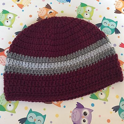 Burgundy CROCHET BABY BEANIE  12 months plus  FOR BOY OR GIRL made in WA