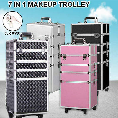 7 In 1 Portable Cosmetics Beauty Makeup Case Box Fancy Carry Bag Trolley AU Ship