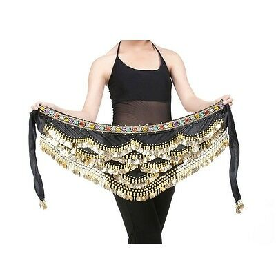 PLUS SIZE Belly Dance Hip Scarf Velvet Wave skirt Hawaiian Samba Copper BELT