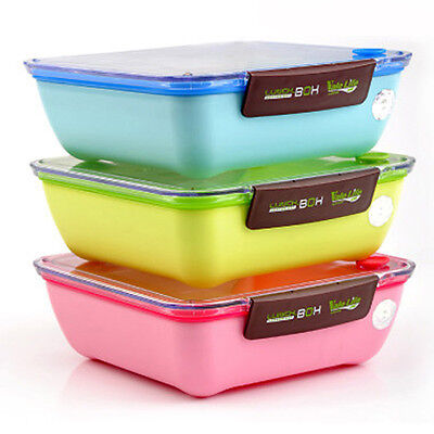 Student Tableware Microwave Bento Box Portable Food Container Lunch Box + Fork