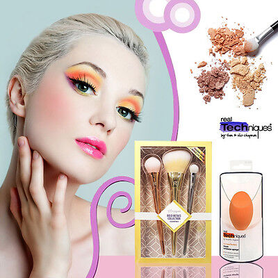 Makeup Pinsel Set Real Techniques Cosmetic Bold Metals Collection+Miracle Sponge