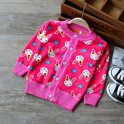 Top Quality Baby Girl Cute Bunnies Cardigan Jumper Coat Fleeced Softest Velvety