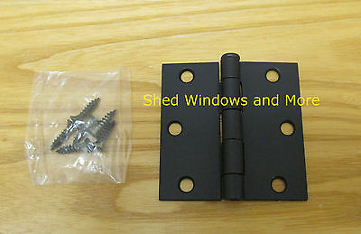"Butt Hinge 3"" x 3"" w/screws Black Chicken Coops Playhouses Small Doors"