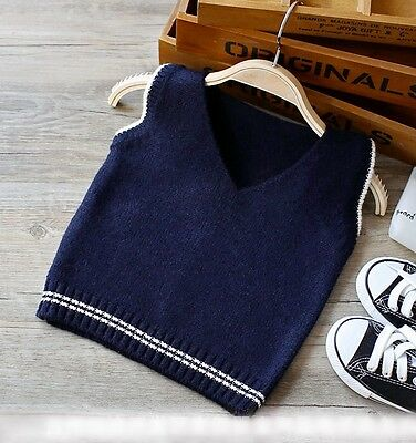 Top Quality Baby Boys Waistcoat Navy Sports cardigan Jumper Top suits 1-4 years