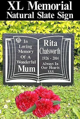 "Xl Huge 20 X 15"" Memorial Graveside Slate Sign Marker Plaque Personalised"