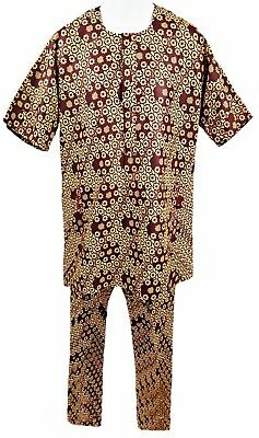 "Handmade Red & Gold Short Sleeve Tunic & Matching Trousers, 36-38"" Chest, Tr084"