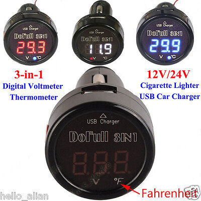 3in1 LED Digital Voltmeter Thermometer 12V 24V Car Cigarette Lighter USB Charger