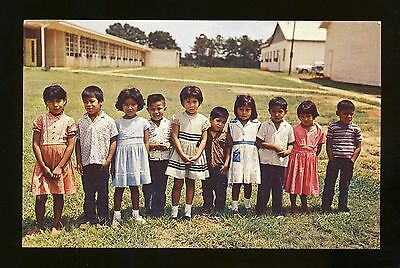 Indian postcard Native American ~  ten little Choctaw Indians Pearl River School