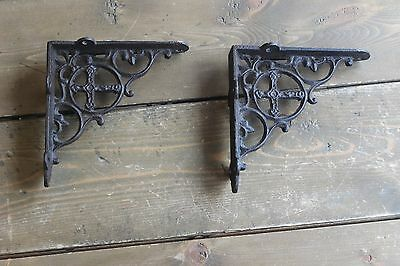 Vintage Shelf Brackets Religious Cross Cast Iron