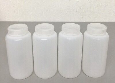 NEW (4) Nalgene Packaging Bottles, 1000ml 32oz, Wide Mouth, HDPE
