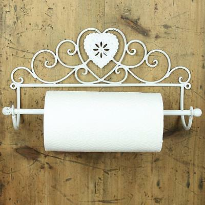 Heart Kitchen Roll Holder cream shabby wall mounted chic vintage gift home