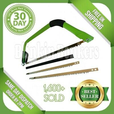 """New 24"""" Heavy Duty Bow Saw Tree Wood Branches Log Pruning Guard 2 Spare Blade"""