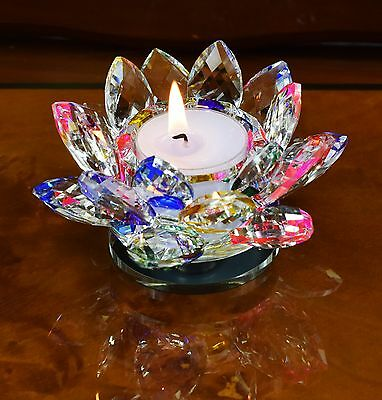 Crystal Cut Lotus Flower Candle Tea Light Holder Spin system & Gift box