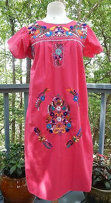 True Vintage Hand Embroidered Mexican Cotton Peasant Dress Pink Mexico