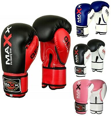 Maxx Pro Gel Leather Boxing Gloves Fight PunchBag UFC Muay Thai Grappling Gloves