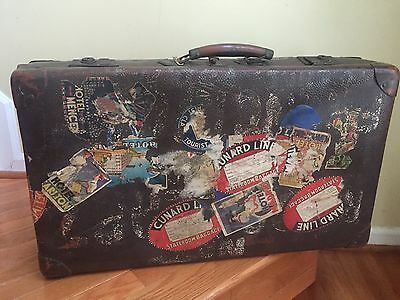 Atq Vtg Leather Valise Suitcase Luggage Travel Ship Decals Stickers Queen Mary