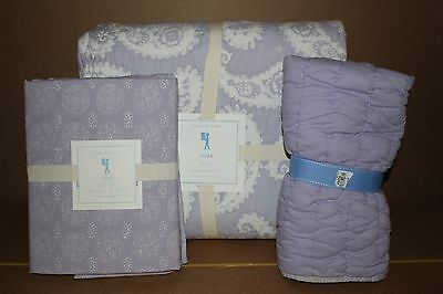 NWT Pottery Barn Kids Nora twin quilt, sham & sheet set purple lavender paisley