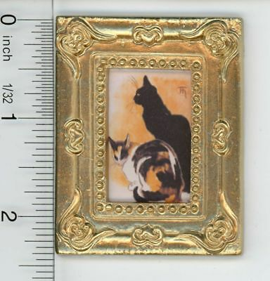Dollhouse Miniature Gold Framed Picture of Two Cats