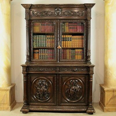 Antique Victorian Carved Oak Country Hunting/Sporting Bookcase - Delivery £120