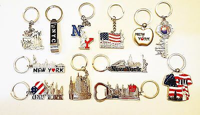 12 New York City Metal Keychains, Lot of 12 NYC Key Rings Bottle Opener