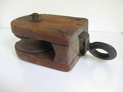Vintage Wooden Barn Pulley with O-Hook Wooden Wheel Rustic Country Decor
