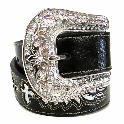 Nocona Black and Silver Wing Cross Belt N4429801