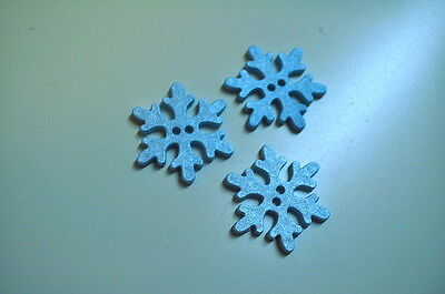 BUTTONS BUTTON SNOWFLAKES ICE CRYSTAL 20mm Gloss light blue Frozen