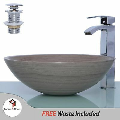 Wooden Grey Marble Stone Round Wash Basin / Sink - 42 cm + FREE WASTE