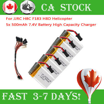 5x 500mAh Battery for JJRC H8C F183 H8D Quadcopter Drone + 5in 1 Charging Cable