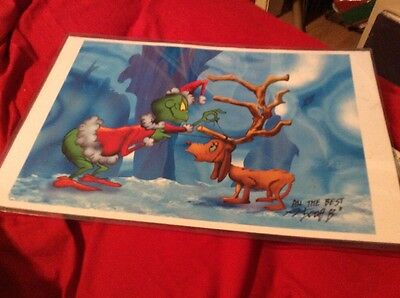 Grinch Stole Christmas Cute With Puppy Signed Color 8.5x11 Tribute Print