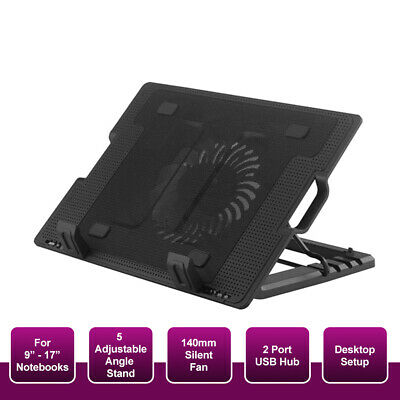 "Laptop Notebook Cooler Cooling Stand USB Big Fan Pad Ergonomic Up to 17"" inch"