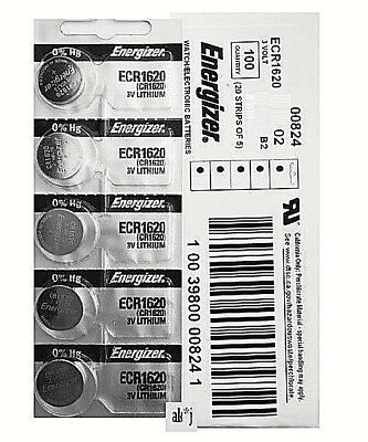 25 PCs Energizer CR1620 Lithium Coin Cell 3V Fresh Date Code Batteries Exp: 2026