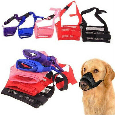 Dog Adjustable Mask Bark Bite Mesh Mouth Muzzle Grooming Anti Stop Chewing
