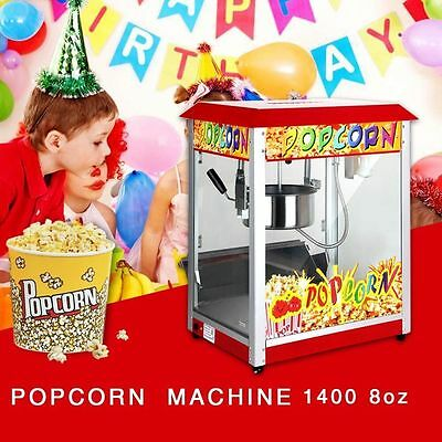 Large Commercial Electric 8OZ Deluxe Popcorn Popper Maker Machine red roof UK in