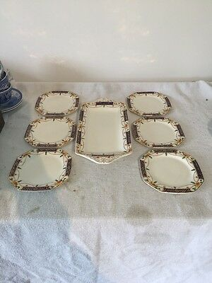 Alfred Meakin Osiris Solway Sandwich Plate And Six Plates
