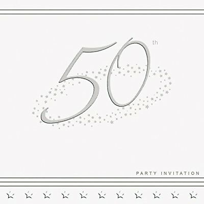 Lovely 50th Birthday Invitations. High Quality. Pack of five cards with envs.