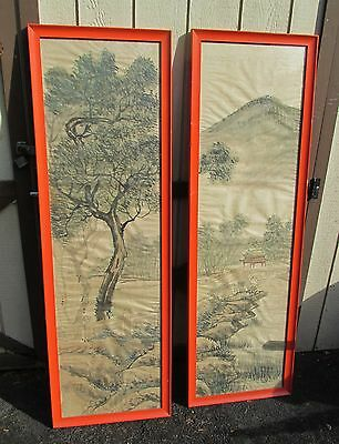 2 Large Old or Antique Chinese Painting on Silk Oriental