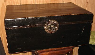 Antique Chinese Export Leather Trunk  Box Chest