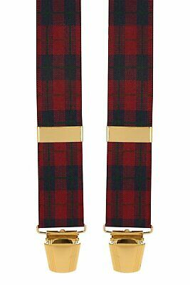 Red Tartan Mens Suit Trouser Braces With Strong Silver Clips X Back GS Braces