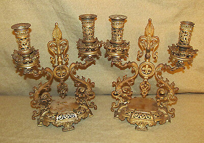Pair Antique European Fancy Victorian Candleabra Aesthetic