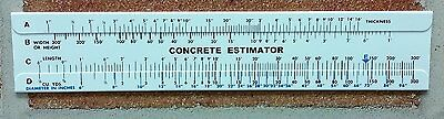 Concrete Slide Ruler 3 pieces 300 Yard Volume Calculator Slide Ruler USA Made.