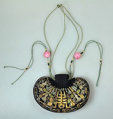 Antique Chinese China Qing Silk Embroidery Gold Silver  Pouch Purse Kesi