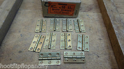 "5 PAIRS 1 1/2"" 38mm LIGHTWEIGHT ELECTRO BRASSED BUTT HINGES BOX DOOR VINTAGE NOS"