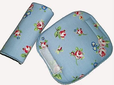 Baby Chic Blue Rose Car Seat Pram Cart Highchair Harness Cover Belt Pads NEW