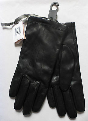 JOHN LEWIS PAIR OF WOMEN'S FINE LEATHER FLEECE LINED BLACK GLOVES XL Size