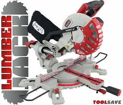 "Lumberjack 210mm 8"" 1500W Sliding Compound Mitre Saw with Laser Blade Clamp 240v"