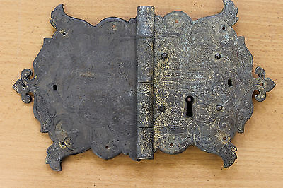 Antique Reclaimed Hand Engraved Brass Decorative Lock for Cabinet/Cupboard