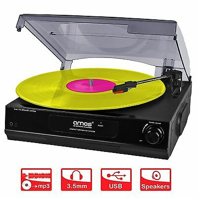 New USB Turntable 3 Speed Record Player Vinyl to MP3 Converter Built in Speakers