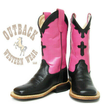 Old West Youth Pink Cross Square Toe Boots BSY1808