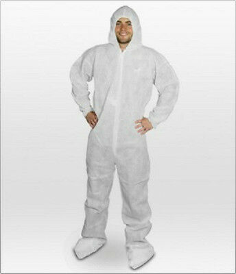 Hooded Disposable Coveralls,Polypropylene,White,Attached Booties,CASE/25
